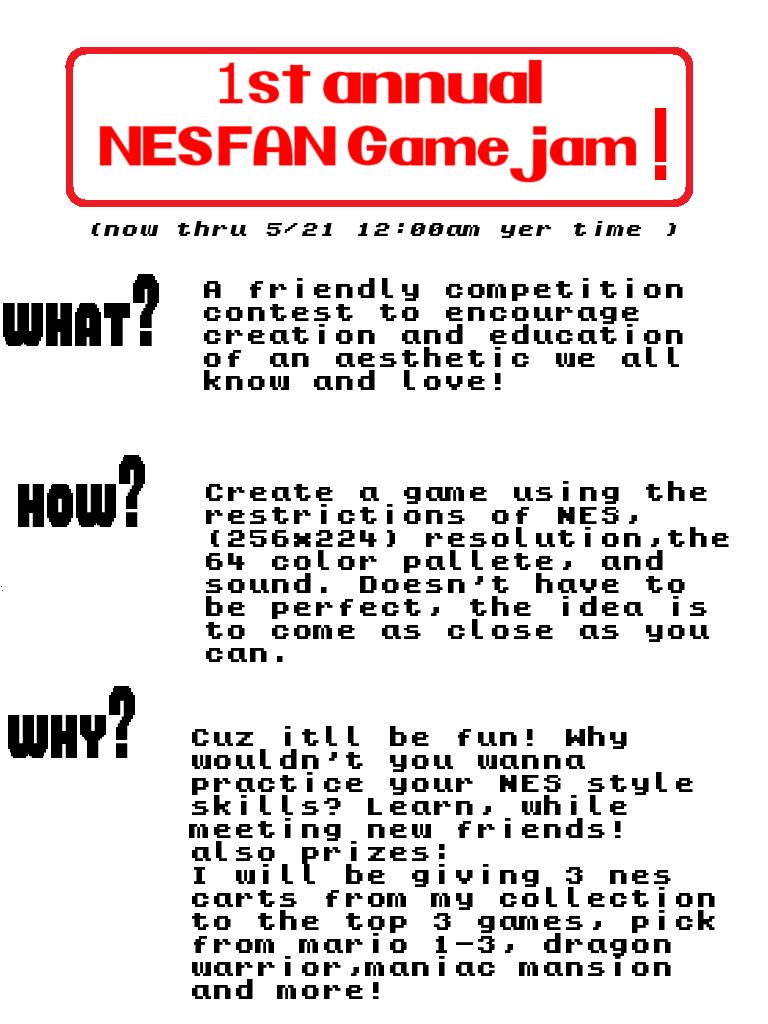 NES Fan Game Jam! - Win prizes, make NES games, meet friends